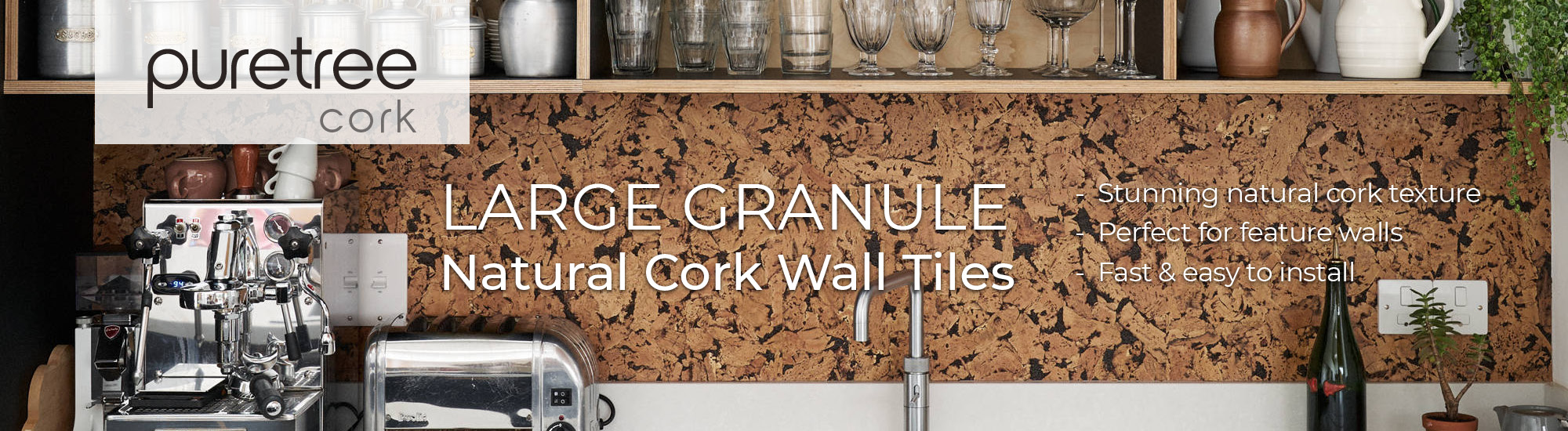Large Granule Cork Wall Tiles - Banner